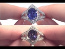 Blue to Violet Color Change Sapphire Diamond Ring 18k White Gold HGT Certified 6.10 tcw - C1131