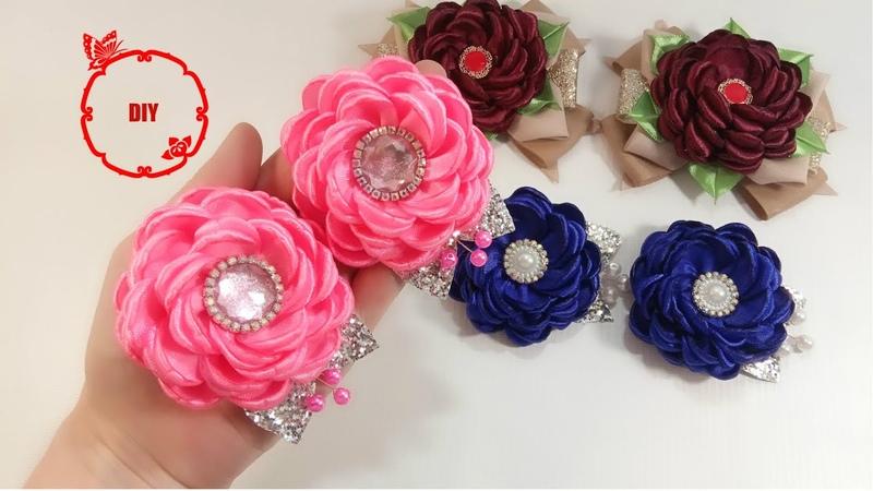 🌺 satin ribbon flower 🌺 цветы из атласных лент 2 5 см