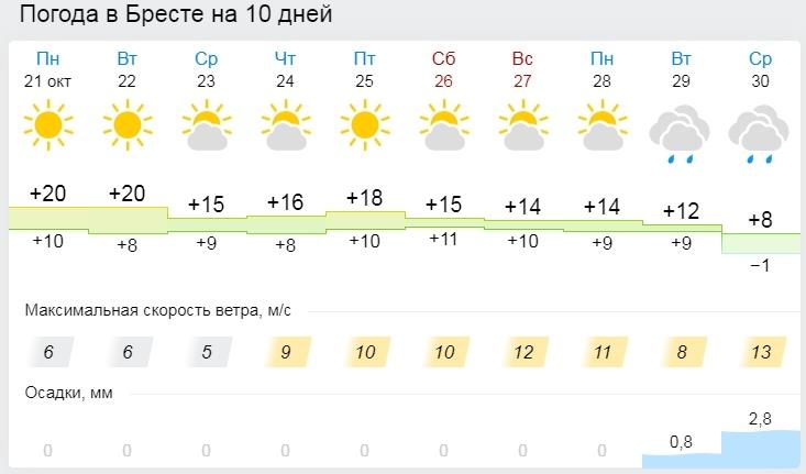 В Минске и областных центрах 20 октября побиты температурные рекорды