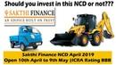 Sakthi Finance NCD April 2019 Public Issue Price, Date, Allotment, Reviews Status.