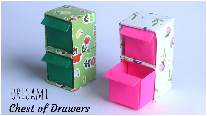 DIY Origami Chest of Drawers How To Make Origami Paper Box With 2 or more storage units
