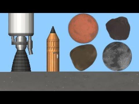 4 планеты на крошечной ракете Маленький монстр Spaceflight Simulator