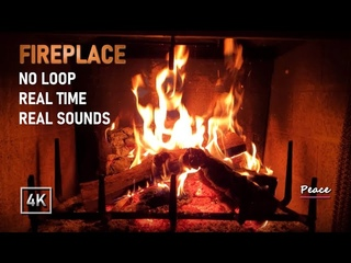 The Best Relaxing Real Time Fireplace with Cracking Fire Burning Sounds. No Loop
