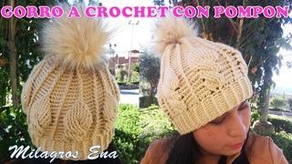 Gorro a crochet Hojas en relieves con pompón paso a paso con indicaciones para bebes y niñas