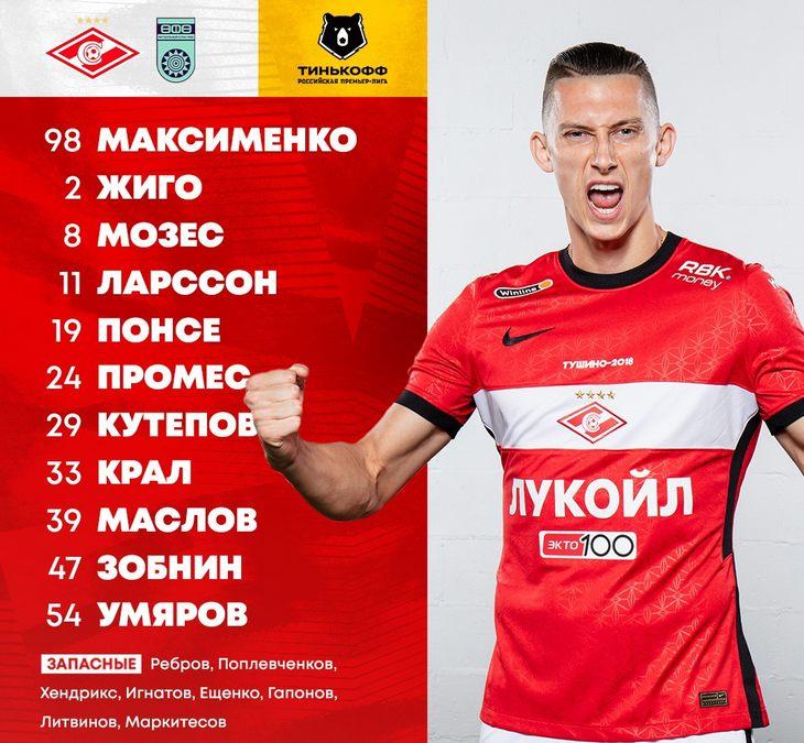 Состав «Спартака» на матч 26-го тура РПЛ с «Уфой»