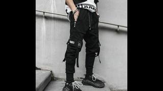 Мужские черные шаровары в стиле хип хоп, повседневные спортивные брюки с множеством карманов и лент, уличная одежда, для лета,