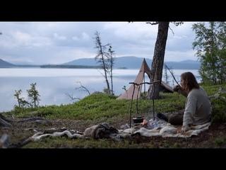 Solo bushcraft trip - northern wilderness, canoeing, net fishing, chaga, lavvu etc. [long version]