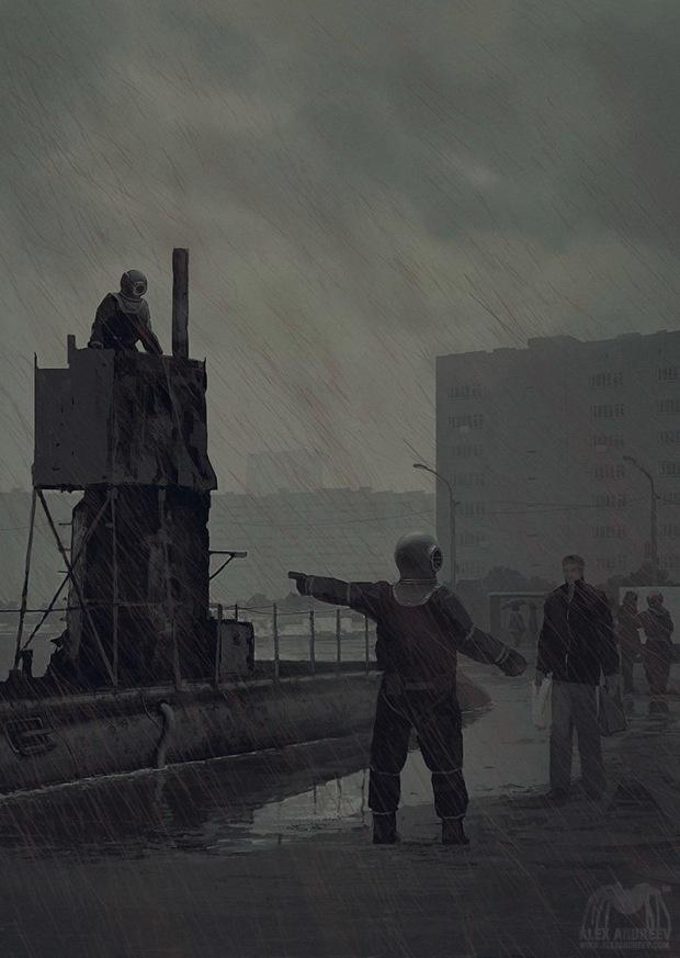 SCP-1861, «Команда подлодки «Винтерсхаймер». Аномальная субмарина, вызывающая вокруг себя дождь из крови и спинномозговой жидкости, а её «экипаж» вербует случайных людей. Художник — Алексей Андреев; иллюстрация создана в рамках арт-проектаARTSCP