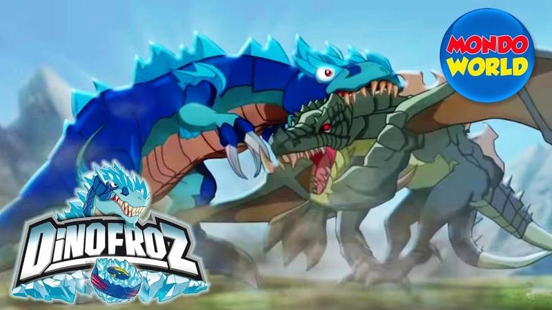 DINOFROZ episode 1 dinosaur cartoon for kids THE ORIGIN Dinosaurs fight dragons