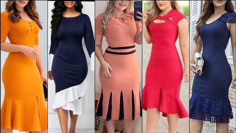High quality tie neck frill hum flare cuff splice big hipp women bodycone dress designs and Ideas