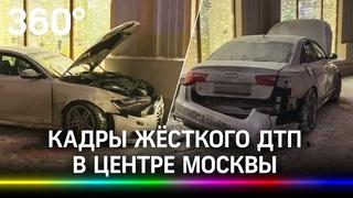 Видео: вылетевшая на тротуар иномарка впечатала актрису в дом. Момент жёсткого ДТП в центре Москвы