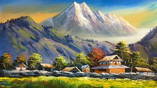 VILLAGE PAINTING | Acrylic Landscape Painting in Time-lapse | Old Village Houses | Nepali Painting