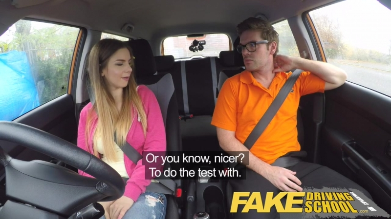Fake Driving School full scene Hot Italian learner with big natural
