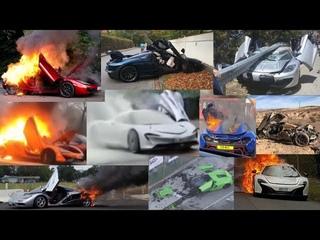 """Top Mclaren Fire & Crashes Supercar Fails """"Speedtail, Senna,  F1, P1, 600lt, 570s, 720s & 650)"""