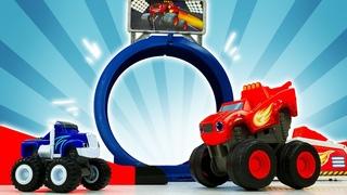 A nova pista de corrida com obstáculos das Monster Machines! História infantil com carros