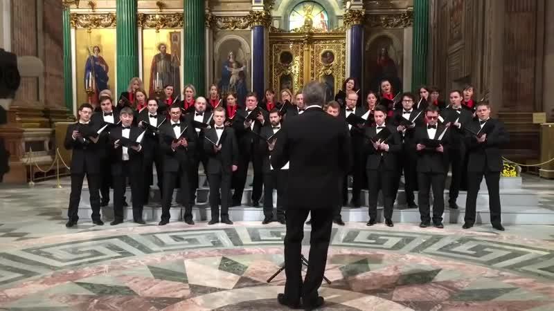 Хор в честь 23 февраля под куполом Исаакиевского собора