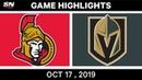NHL Highlights Senators vs Golden Knights Oct 17 2019