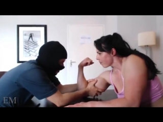 Female bodybuilder teaches masked man a lesson