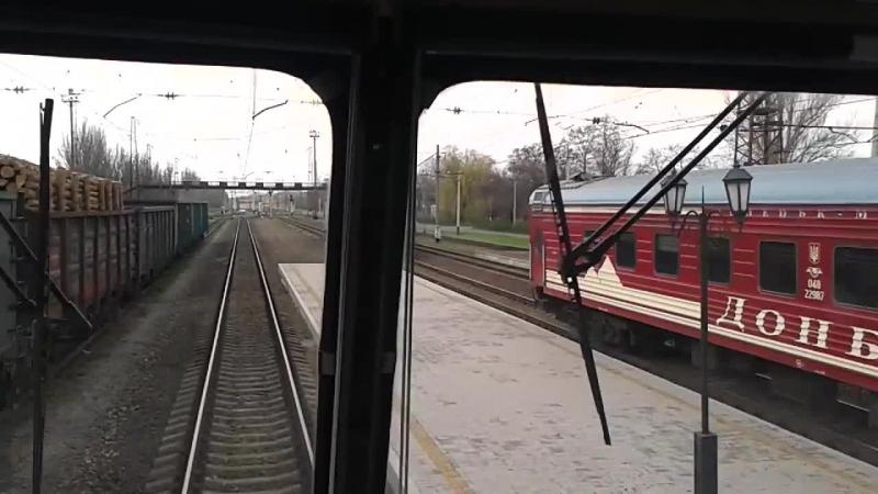 Поездка на ДЭ1-028 с пассажирским поездом
