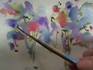 Loose watercolours Sweet Peas by Andrew Geeson