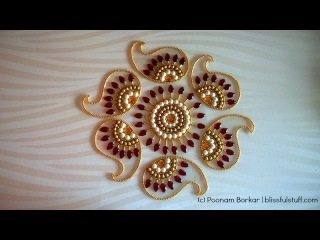 How to Make rearrangable kundan Rangoli, DIY Kundan Rangoli