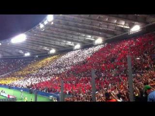 AS ROMA-Barcellona 1-1 coreografia tribuna Tevere 16/09/2015