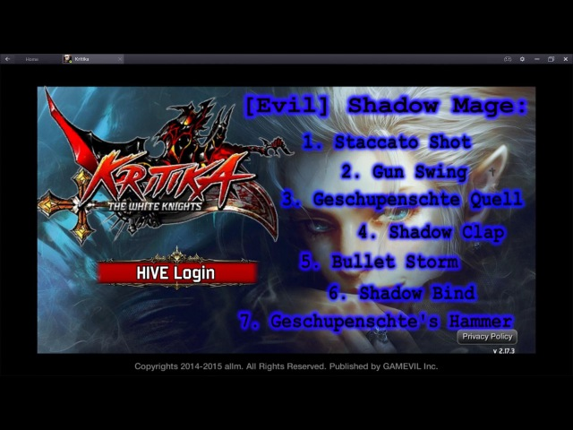 Kritika The White Knights Shadow Mage Awakened Skills Preview Lv 1 Red and Blue path