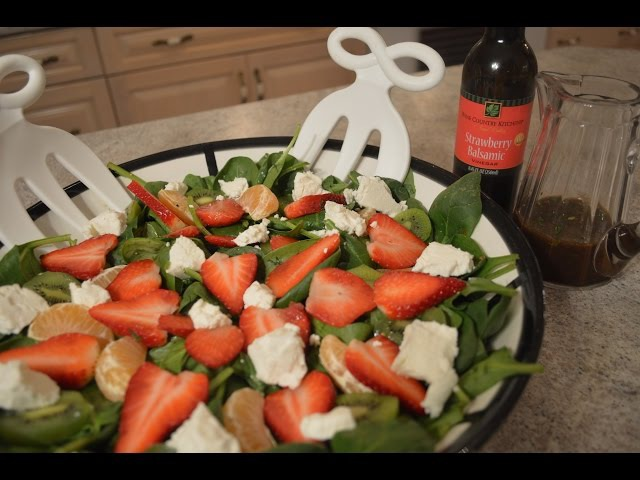 How to Make Kiwi, Strawberry Spinach Salad with Chevre Strawberry Lime Balsamic Vinaigrette CWK
