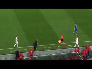 Vicente Del Bosque gets run over by linesman Italy vs Spain 2016