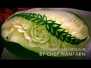The Twins Leaf And Simple Rose in Watermelon Carving   By Chef NAMTARN