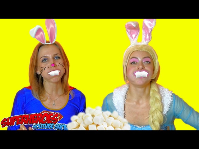 CHUBBY BUNNY CHALLENGE Elsa VS SuperGirl eat Marshmallow have funny faces in real life!