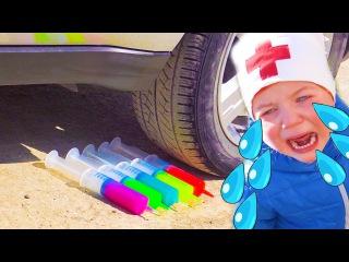 Bad Baby Раздавили ШПРИЦЫ СЛИЗЬ FREAKY JOKER Crushes Syringes Slime under car DOCTOR Doc McStuffins