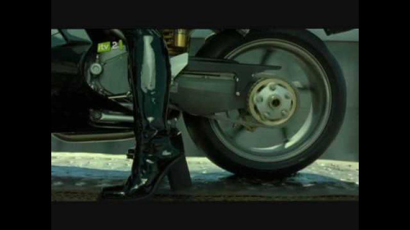Carrie-Anne Moss aka Trinity on ducati 996 motorbike