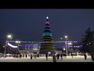 Новая барнаульская городская елка (à la московская) на пл. Сахарова. Видеоролик 1