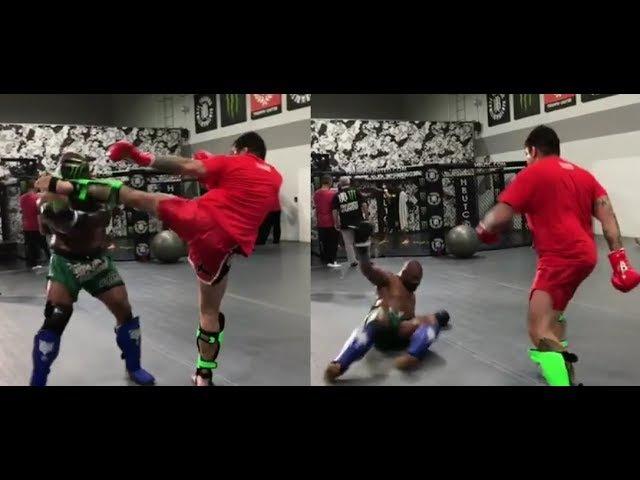 Куинтон Джексон улетел в нокдаун во время подготовки к бою с Чейлом Сонненом видео