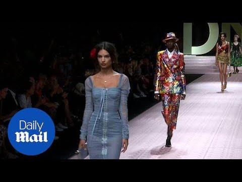 Emily Ratajkowski dazzles in blue at Milan Fashion Week