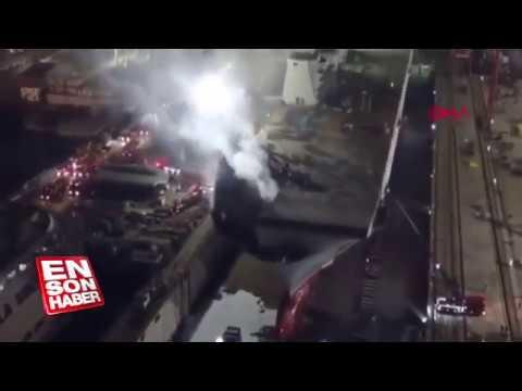 Turkish first aircraft carrier on fire TCG ANADOLU Sedef Shipyard