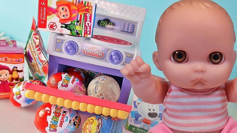 Куклы Пупсики и волшебная плита Плей До Открываем Сюрпризы Чупа Чупс Барбоскины Щенячий Патруль