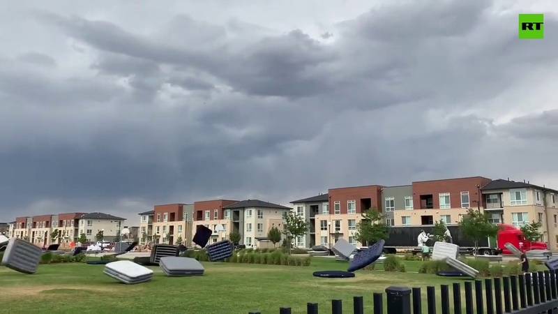 The great mattress migration: Dozens of blow-up beds fly away in Colorado storm