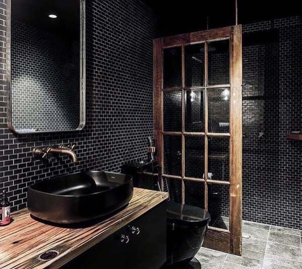 Интерьер ванной комнаты в черном цвете