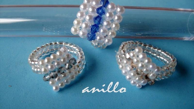 DIY Anillo facil de perlas y tupis swarouski Easy ring of pearls and swarovski tupis