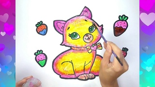 How to Draw a Kitten. Learn to draw beautiful cartoon cat. Cute Drawing of Animals