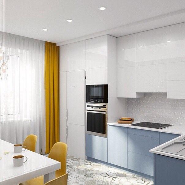 Кухня-столовая, спокойная и в то же время яркая️