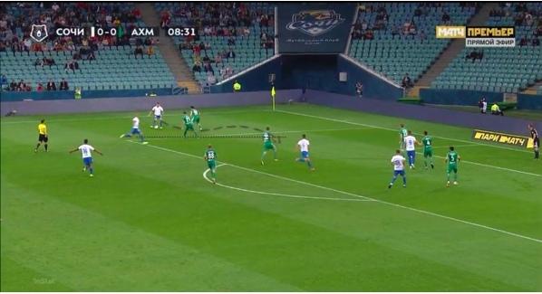 Принимает мяч, дожидается Кудряшова, пасует на подключающегося защитника между двумя оппонентами. Комбинация заканчивается пасом от Кудряшова назад по диагонали и ударом по воротам.