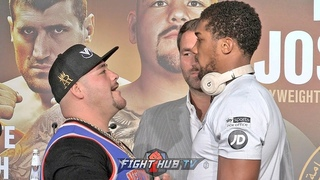 "ANDY RUIZ STARES DOWN & TAUNTS ANTHONY JOSHUA TO HIS FACE YELLS  ""AND STILL"" DURING FACE OFF"