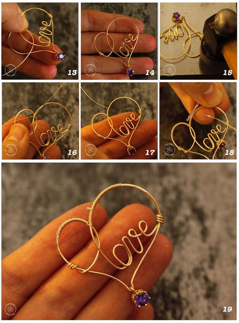 Как сделать проволочную подвеску-сердечко, изображение №6