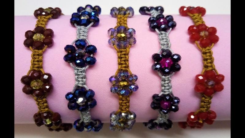 Como hacer una pulsera con nudo plano hecha con hilo chino y cristales