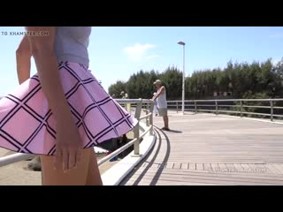 Wind Blows My Short Skirt up No Panty Public Flash