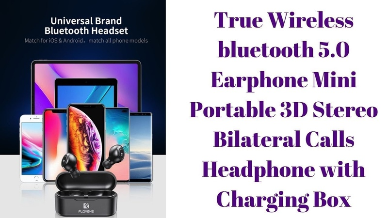 Wireless bluetooth 5 0 Earphone Mini Portable 3D Stereo Bilateral Calls Headphone with Charging Box