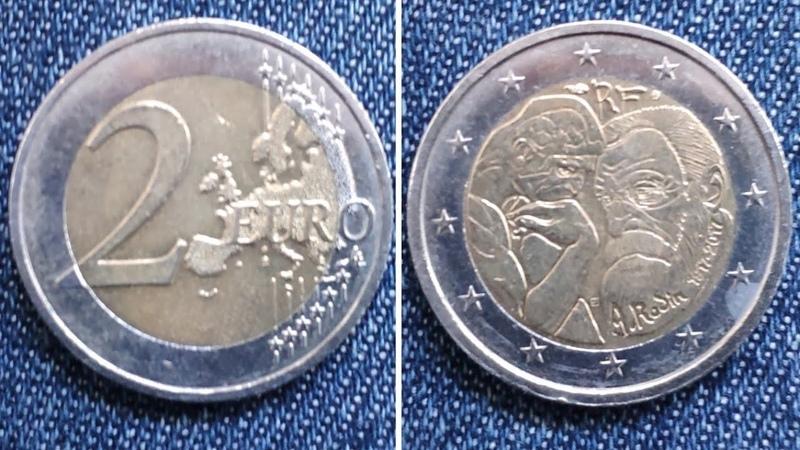 2 EURO France 2017 A. Rodin Франція 2 євро, 2017 100-та річниця - Смерть Огюста Родена